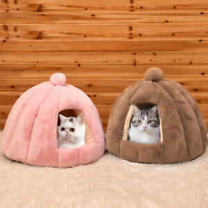 Warm Cat Cave Bed Plush 2-in-1 Indoor Cat Tent House with Removable Cushion