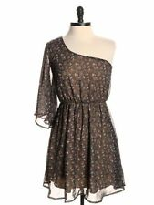 Audrey 3+1 Urban Outfitter One Shoulder Brown Floral Romantic Date Party Dress S
