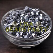 25pcs 6mm Cube Square Faceted Crystal Glass Loose Spacer Beads Silver Plated