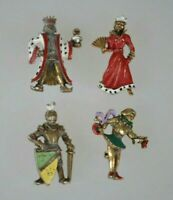 Miniature enamel Brooches pins king queen knight jester, Vintage jewelry 1940s