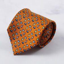 E.Marinella Napoli Orange Multicolor Floral Leaf Print Silk Tie