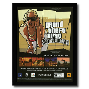 GTA Grand Theft Auto: San Andreas Framed Print Ad/Poster Official PS2 Promo Art