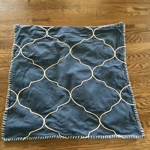 """Pottery Barn Pillow Cover Rope Cotton Sailor Blue Navy 22""""Nautical Hem Stitches"""