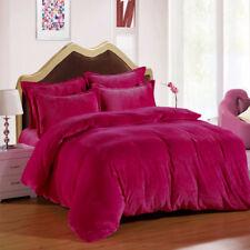 Bedding 3 PC Full / Queen / Oly Queen Pink Plain Velvet Duvet Cover Set