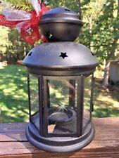 Rustic Metal Black Wrought Iron Barn Star Tealight Candle Lantern Yankee Glass