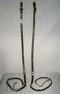 Matching Pair Of Antique Leather & Brass Shire Horse Lead Reins By E.G Taylor