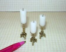 Miniature Brooke Tucker Set of 3 Fancy Pillar Candles (WHITE): DOLLHOUSE 1:12
