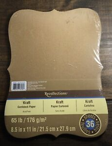 Recollection - Kraft Die Cut Shape - Card stock Paper - Pack of 36 - Unopened