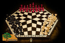 3 PLAYER CHESS SET - Large 54cm / 21in Handcrafted Wooden Chess Set