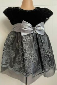Silver Grey Black Sparkly Flower Girl Party Eid Wedding Pageant Dress Xmas 0-24m