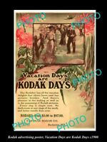 OLD HISTORIC PHOTO OF KODAK CAMERA ADVERTISING POSTER KODAK VACATION DAYS c1900