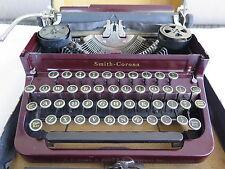 Vintage 1930's LC Smith & Corona Portable Typewriter with Case - Maroon
