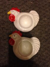 ITALY Set of 2 Rooster/Chicken Egg Cup/Holder
