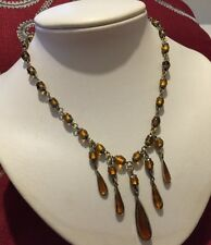 Drippy Amber Art Deco Tear Drop Necklace