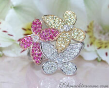 Ringe mit echten Rubin Edelsteinen aus Weißgold für Damen
