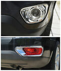 Chrome Front + Rear Fog Light Lamp Cover Trim 4pcs for JEEP COMPASS 2011-2013