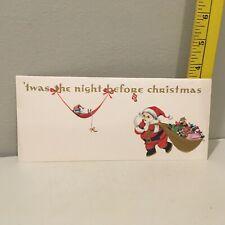 Vtg Christmas Card Santa Gold Bag Gifts Mouse Hammock Hawthorne-Sommerfield