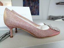 Manolo Blahnik Hangisi pink lame glitter 50 heel size 36(US 5,5) shoes