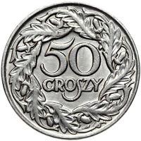 Polen Republik 1918-1939 - II RP - Münze 50 Groszy 1923 Nickel - Gekrönter Adler