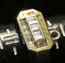 18K Solid Yellow Gold 0.75 Ct 3/4 carat Diamond Round & Baguette Men's Ring