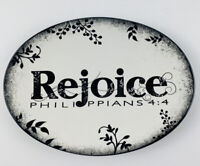 The Truth Is BLACK & WHITE REJOICE Philippians 4:4 Trinket Dish Religious Decor