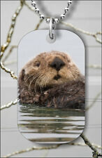 SEA OTTER IN CALIFORNIA COAST DOG TAG PENDANT NECKLACE FREE CHAIN -gyd3Z