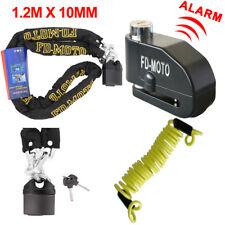 Heavy Duty 1.2M Motorbike Motorcycle Chain & Pad Lock + Brake Alarm Disc Lock