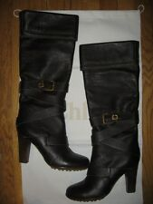 Chloe Brown Prince Paddington Leather Knee High Buckle Belted Boots 41 EU $1195