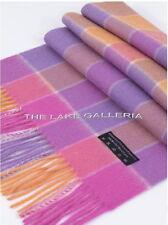 Fuchsia/Lavender/Orange 3-Ply Scottish Plaid Check Wool & Cashmere Scarf Muffler