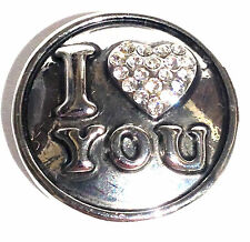 I Love You Rhinestone Heart 20mm Snap Charm Interchangeable For Ginger Jewelry