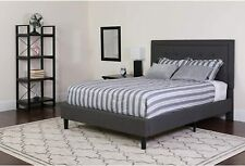 Roxbury Full Size Tufted Upholstered Platform Bed in Dark Gray Fabric New