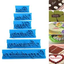 6x Fondant Cake Alphabet Letter Cookies Biscuit Stamp Embosser Pastry Mold Decor