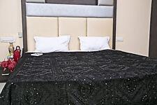 Black Mirror Work Bedspread Indian Antique Decor Hand Embroidered Blanket Ethnic