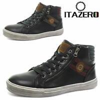 Itazero Men's Retro Lace Up Trainers Navy Black Casual Sneakers
