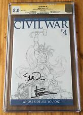 Civil War #4 sketch cover - CGC 8.0ss, signed by McNiven & Vines - Marvel Comics
