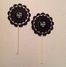 Nhl Los Angeles Kings Cupcake Toppers Party Decoration Black Hockey Handmade New