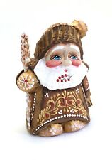 Unique Shape Russian SANTA Father of Frost Wooden Hand Carved Hand Painted