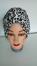 TURBAN leopard print black white VINTAGE LOOK  1940s 50s hat swing chemo