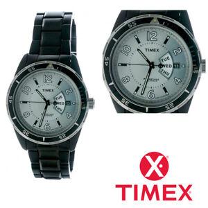 Timex T2M505 Watch Mens Black Stainless Steel Bracelet Perpetual Calendar