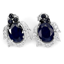 & Cubic Zirconia Cocktail Studs 925 Sterling Silver 5.44 Ctw Sapphire