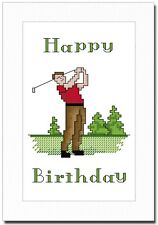 HAPPY BIRTHDAY - MALE GOLFER - CROSS STITCH CARD KIT