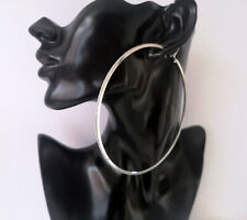 "BIG SILVER TONE thin square tube  glitter edge hoop earrings 4"" /10cm Huge hoops"