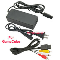 AC Adapter Power Supply & Audio Video A/V Cable for Nintendo GameCube Bundle USA