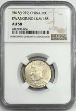 Yr18 (1929) China 20 Cents Kwangtung L&M-158 Ngc Au58