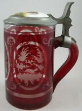 Antique Ruby Flash Glass Stein with Horse Medallion