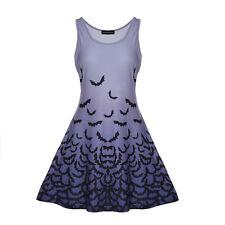 Fashion Womens Bat Print Ladies Sleeveless Dress Mini Swing Dress Halloween