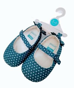 Carter's Mary Jane Girls Baby Shoes Polka Dot W/  Bow Size 3-6 Months NWT