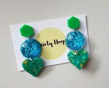 Statement triple dangle earrings green and blue glitter resin