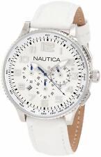 Women's N22598M White Dial Leather Band Analog Display Round Nautica Watch