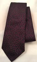 Paul Smith Men Tie 8cm Blade 100% Silk Made In Italy 552M Black With Purple Dots